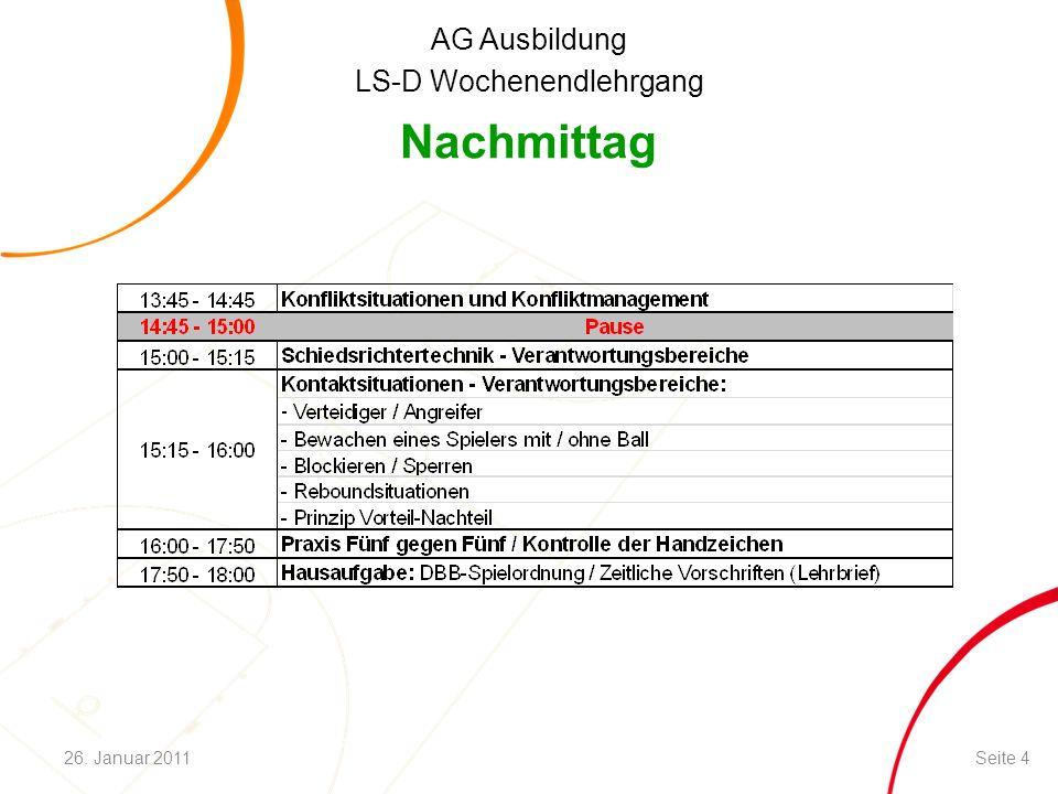 AG Ausbildung LS-D Wochenendlehrgang Nachmittag Seite 426. Januar 2011