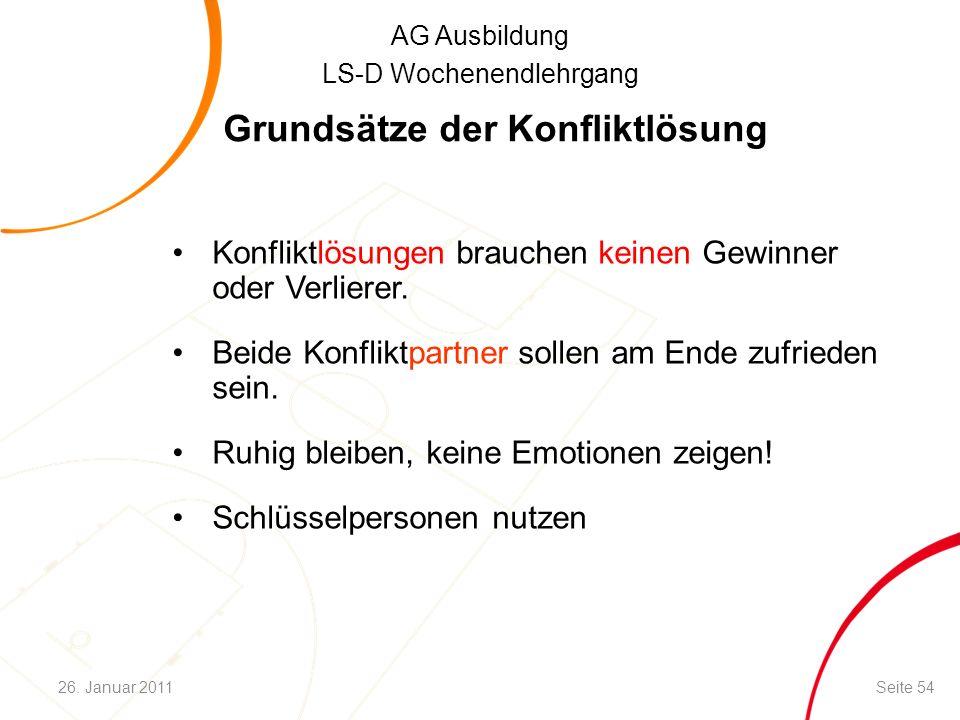 AG Ausbildung LS-D Wochenendlehrgang Grundsätze der Konfliktlösung Konfliktlösungen brauchen keinen Gewinner oder Verlierer.