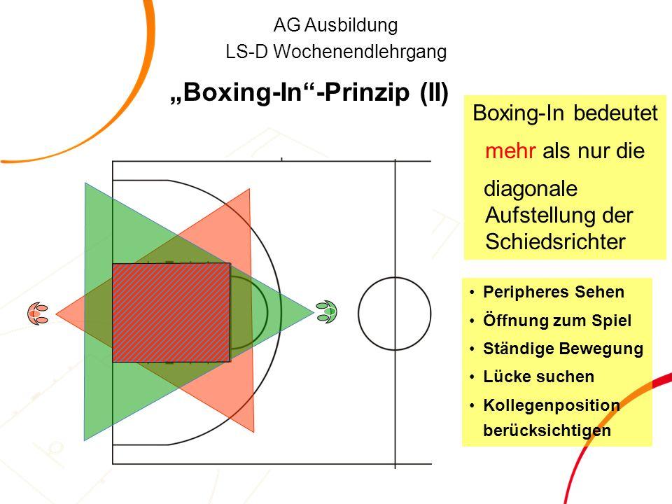 """AG Ausbildung LS-D Wochenendlehrgang """"Boxing-In -Prinzip (II) Boxing-In bedeutet mehr als nur die diagonale Aufstellung der Schiedsrichter Peripheres Sehen Öffnung zum Spiel Ständige Bewegung Lücke suchen Kollegenposition berücksichtigen"""