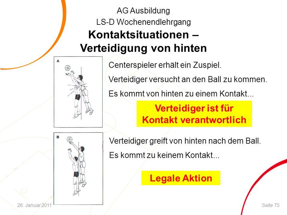 AG Ausbildung LS-D Wochenendlehrgang Kontaktsituationen – Verteidigung von hinten Centerspieler erhält ein Zuspiel. Verteidiger versucht an den Ball z