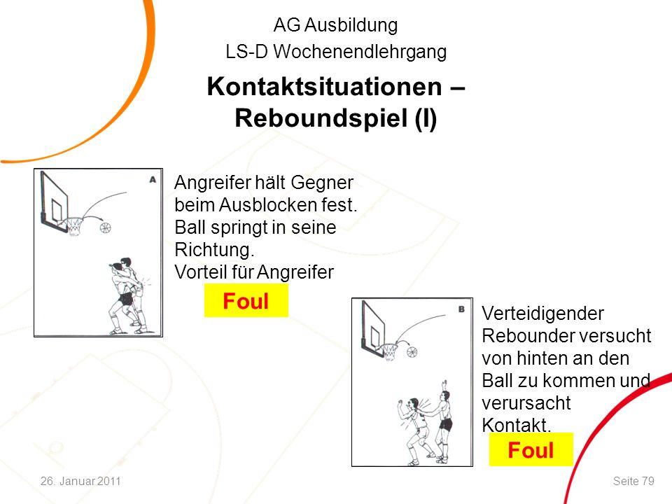 AG Ausbildung LS-D Wochenendlehrgang Kontaktsituationen – Reboundspiel (I) Angreifer hält Gegner beim Ausblocken fest. Ball springt in seine Richtung.