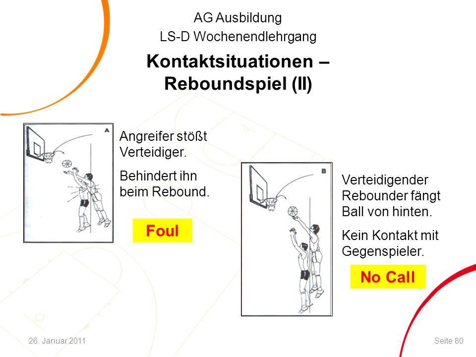 AG Ausbildung LS-D Wochenendlehrgang Kontaktsituationen – Reboundspiel (II) Angreifer stößt Verteidiger. Behindert ihn beim Rebound. Verteidigender Re