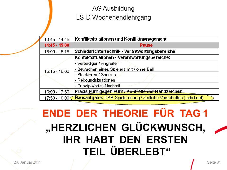 """AG Ausbildung LS-D Wochenendlehrgang ENDE DER THEORIE FÜR TAG 1 """"HERZLICHEN GLÜCKWUNSCH, IHR HABT DEN ERSTEN TEIL ÜBERLEBT Seite 8126."""