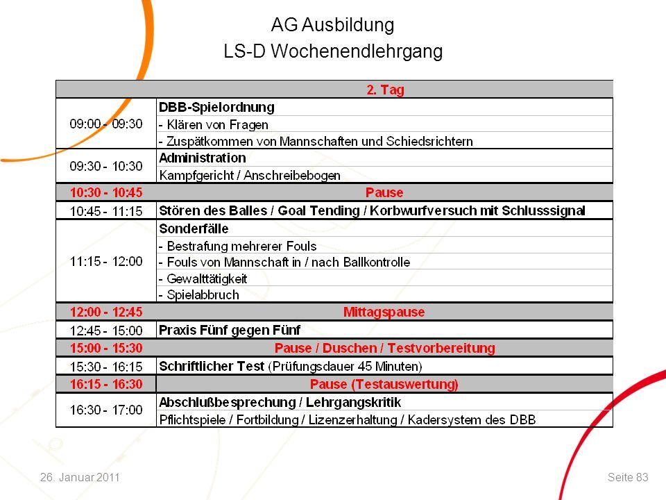 AG Ausbildung LS-D Wochenendlehrgang Seite 8326. Januar 2011