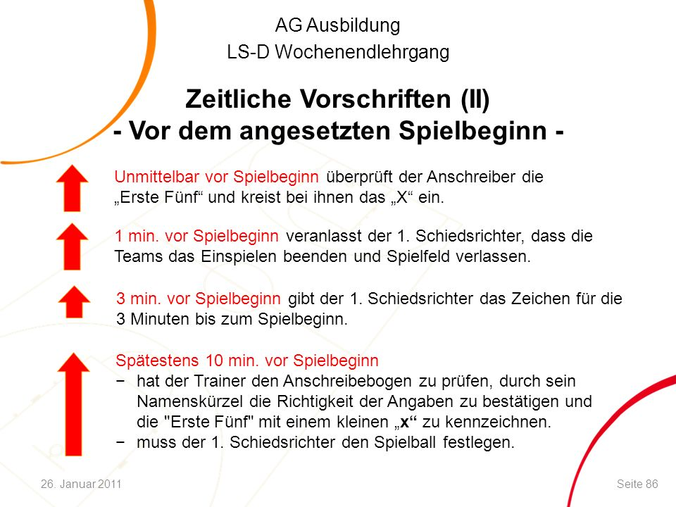 AG Ausbildung LS-D Wochenendlehrgang Zeitliche Vorschriften (II) - Vor dem angesetzten Spielbeginn - Spätestens 10 min.