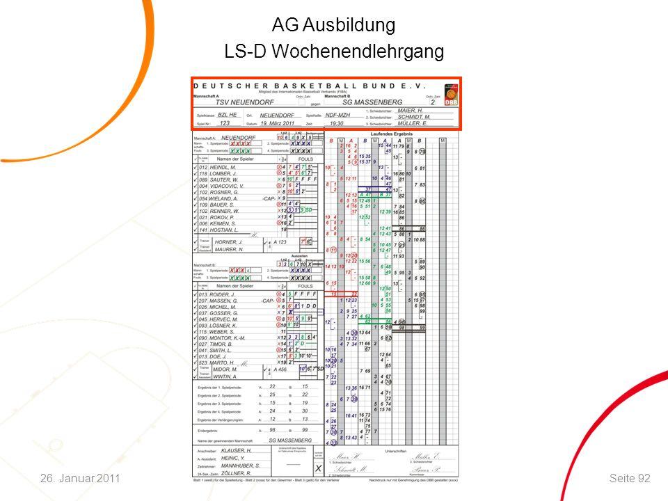 AG Ausbildung LS-D Wochenendlehrgang Seite 9226. Januar 2011