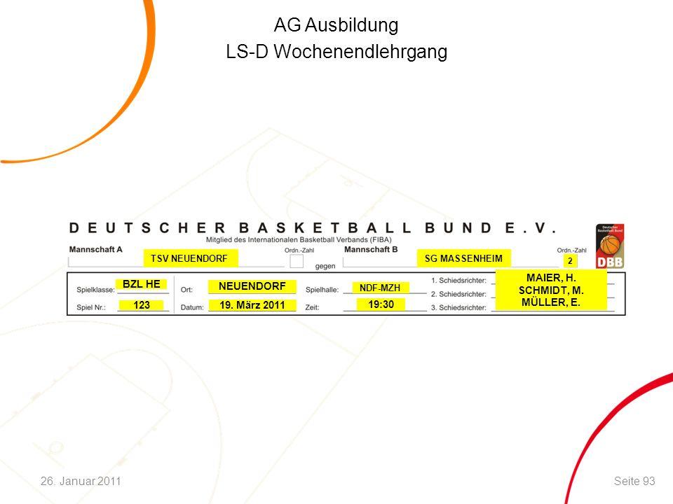 AG Ausbildung LS-D Wochenendlehrgang 123 BZL HE 19. März 2011 2 19:30 NEUENDORF MAIER, H. SCHMIDT, M. MÜLLER, E. TSV NEUENDORF SG MASSENHEIM Seite 932