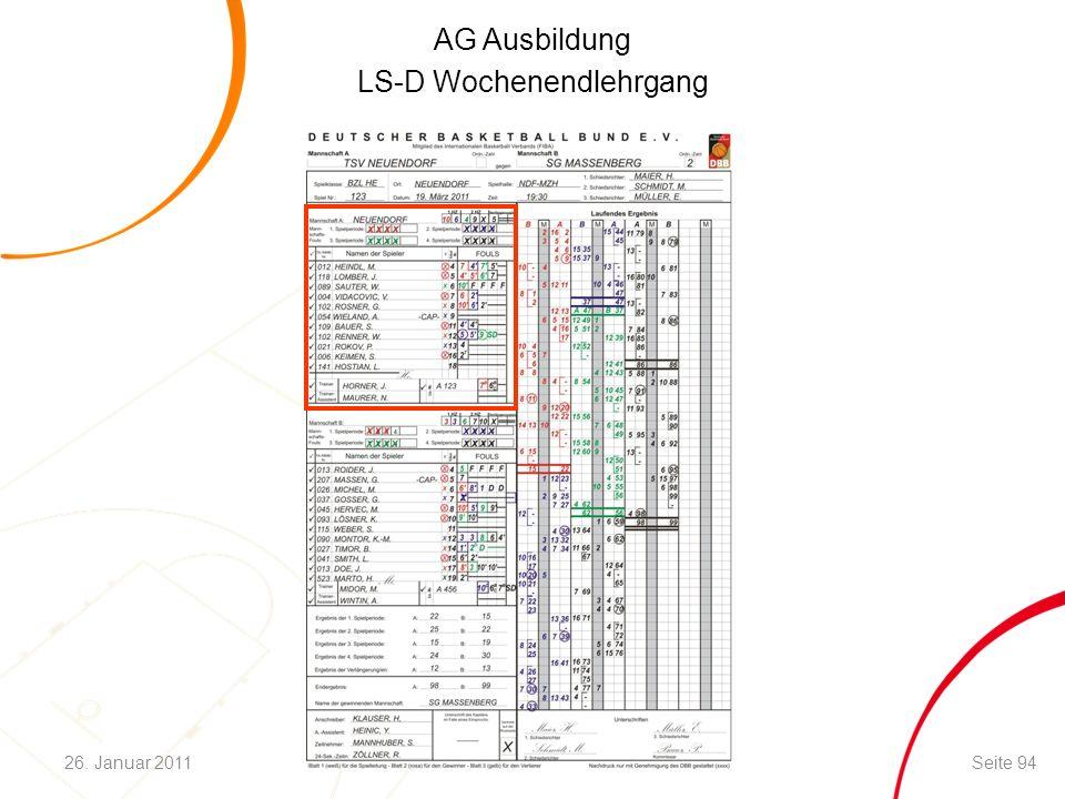 AG Ausbildung LS-D Wochenendlehrgang Seite 9426. Januar 2011
