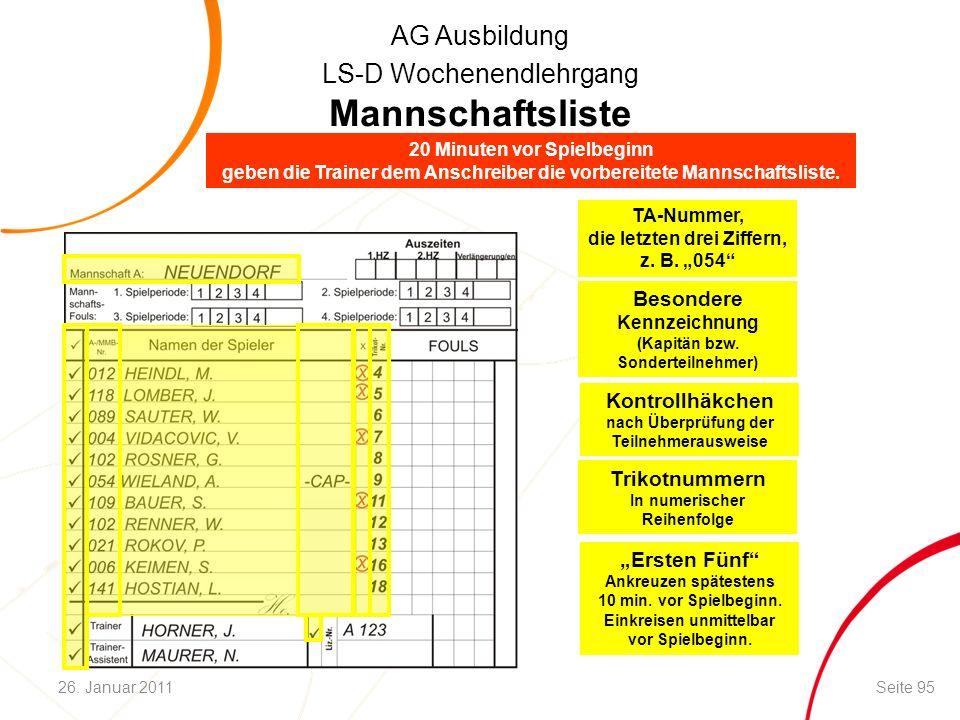 """AG Ausbildung LS-D Wochenendlehrgang TA-Nummer, die letzten drei Ziffern, z. B. """"054"""" Mannschaftsliste Besondere Kennzeichnung (Kapitän bzw. Sondertei"""