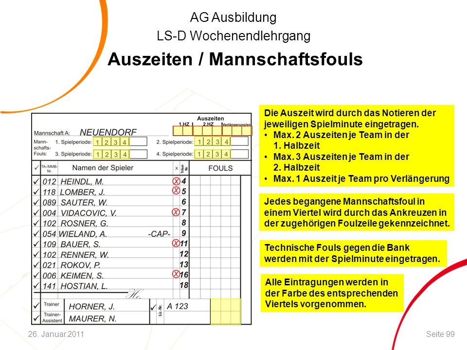 AG Ausbildung LS-D Wochenendlehrgang Technische Fouls gegen die Bank werden mit der Spielminute eingetragen. Auszeiten / Mannschaftsfouls Die Auszeit