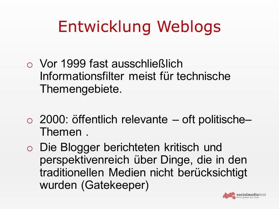 Entwicklung Weblogs o Vor 1999 fast ausschließlich Informationsfilter meist für technische Themengebiete.