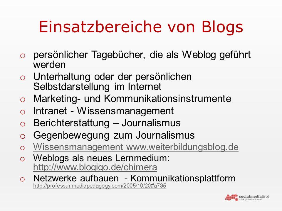Einsatzbereiche von Blogs o persönlicher Tagebücher, die als Weblog geführt werden o Unterhaltung oder der persönlichen Selbstdarstellung im Internet o Marketing- und Kommunikationsinstrumente o Intranet - Wissensmanagement o Berichterstattung – Journalismus o Gegenbewegung zum Journalismus o Wissensmanagement www.weiterbildungsblog.de Wissensmanagement www.weiterbildungsblog.de o Weblogs als neues Lernmedium: http://www.blogigo.de/chimera http://www.blogigo.de/chimera o Netzwerke aufbauen - Kommunikationsplattform http://professur.mediapedagogy.com/2005/10/20#a735 http://professur.mediapedagogy.com/2005/10/20#a735