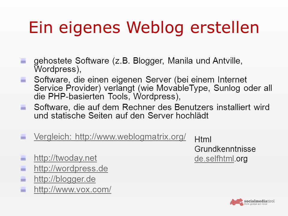 Ein eigenes Weblog erstellen gehostete Software (z.B.