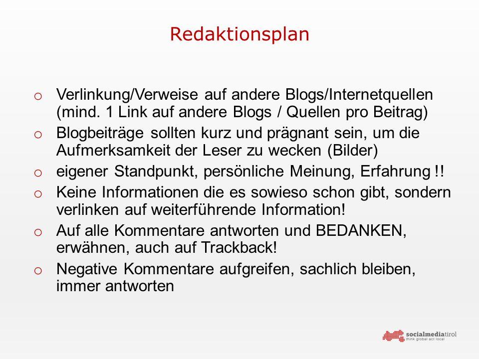 Redaktionsplan o Verlinkung/Verweise auf andere Blogs/Internetquellen (mind.