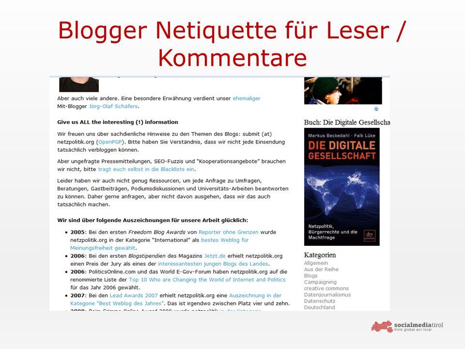 Blogger Netiquette für Leser / Kommentare
