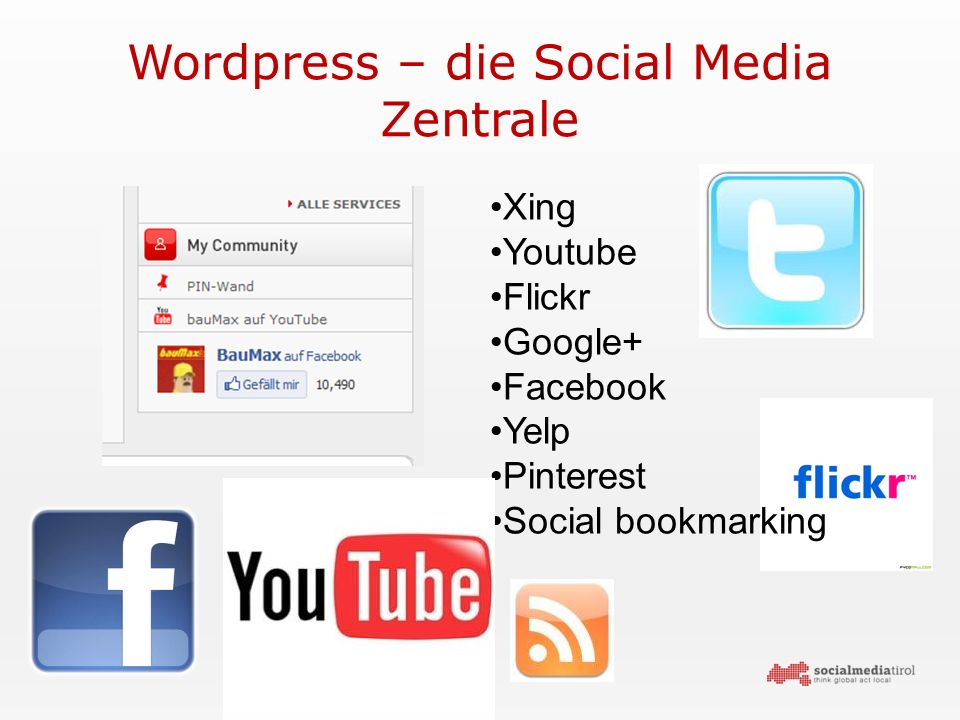 Wordpress – die Social Media Zentrale Xing Youtube Flickr Google+ Facebook Yelp Pinterest Social bookmarking
