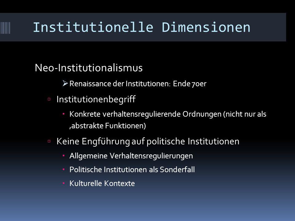 Institutionelle Dimensionen Neo-Institutionalismus  Renaissance der Institutionen: Ende 70er  Institutionenbegriff  Konkrete verhaltensregulierende