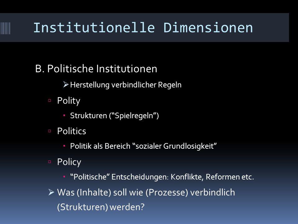 """Institutionelle Dimensionen B. Politische Institutionen  Herstellung verbindlicher Regeln  Polity  Strukturen (""""Spielregeln"""")  Politics  Politik"""