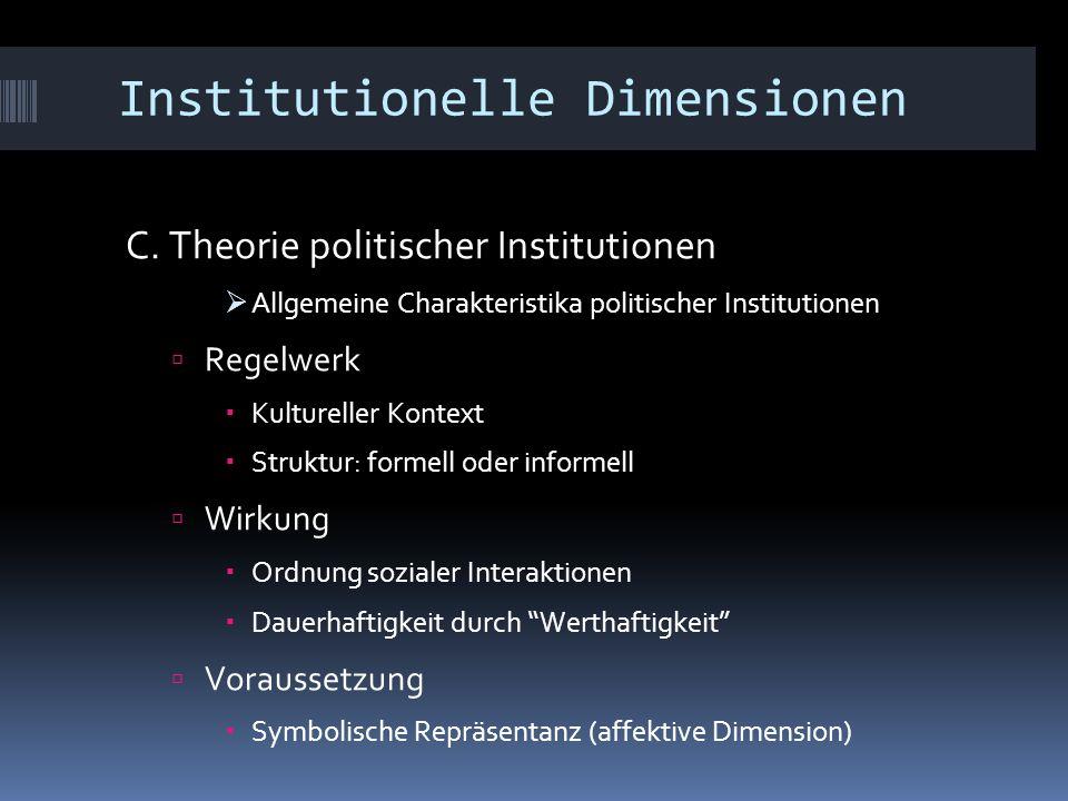Institutionelle Dimensionen C. Theorie politischer Institutionen  Allgemeine Charakteristika politischer Institutionen  Regelwerk  Kultureller Kont