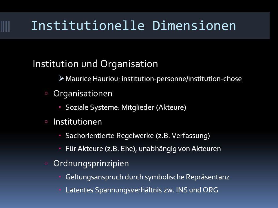 Institutionelle Dimensionen Institution und Organisation  Maurice Hauriou: institution-personne/institution-chose  Organisationen  Soziale Systeme: