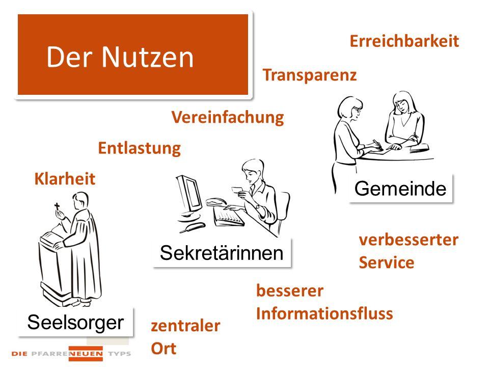 Der Nutzen Seelsorger Sekretärinnen Gemeinde Erreichbarkeit Entlastung Vereinfachung Transparenz Klarheit zentraler Ort besserer Informationsfluss verbesserter Service