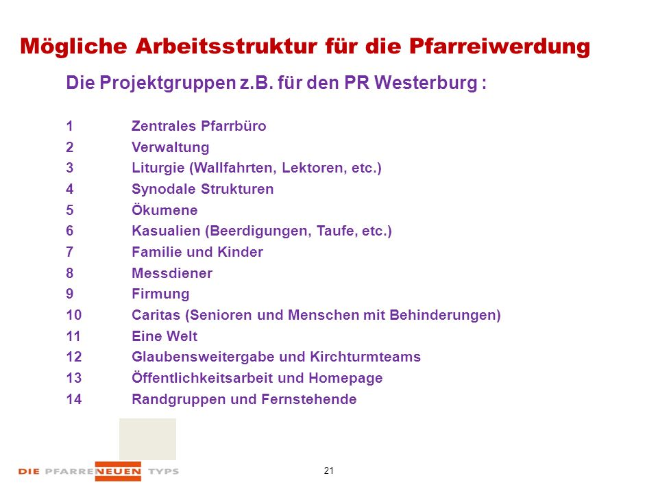 21 Mögliche Arbeitsstruktur für die Pfarreiwerdung Die Projektgruppen z.B.