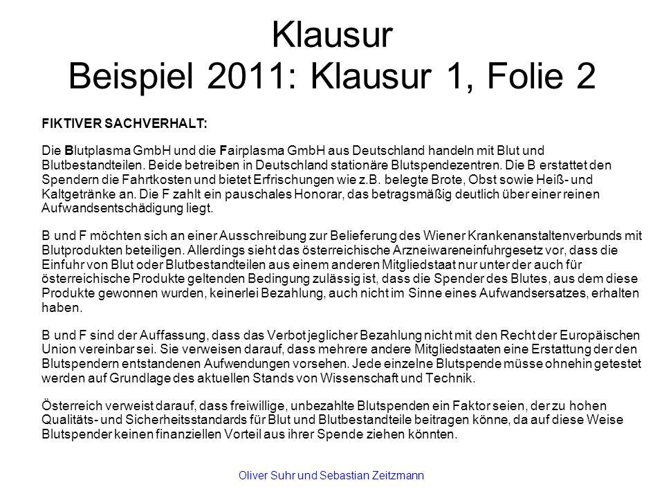 Klausur Beispiel 2011: Klausur 1, Folie 2 FIKTIVER SACHVERHALT: Die Blutplasma GmbH und die Fairplasma GmbH aus Deutschland handeln mit Blut und Blutb