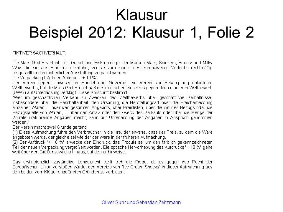 Klausur Beispiel 2012: Klausur 1, Folie 2 Oliver Suhr und Sebastian Zeitzmann