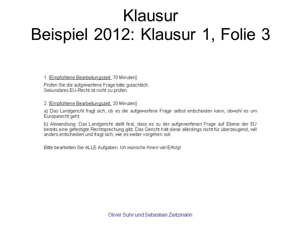 Klausur Beispiel 2012: Klausur 1, Folie 3 Oliver Suhr und Sebastian Zeitzmann