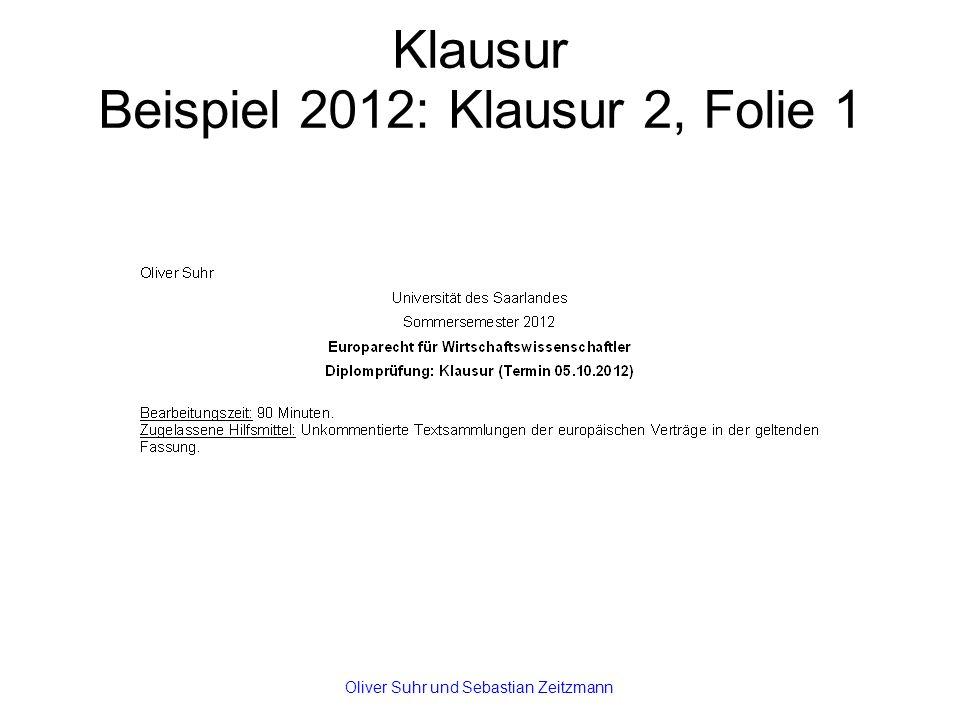 Klausur Beispiel 2012: Klausur 2, Folie 1 Oliver Suhr und Sebastian Zeitzmann