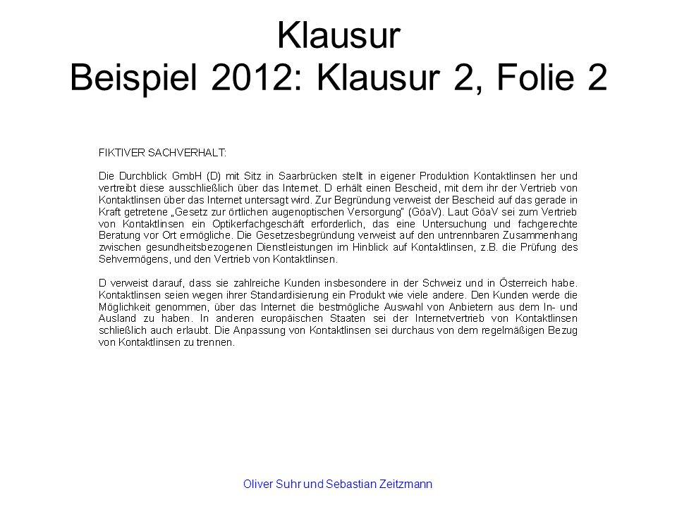 Klausur Beispiel 2012: Klausur 2, Folie 2 Oliver Suhr und Sebastian Zeitzmann