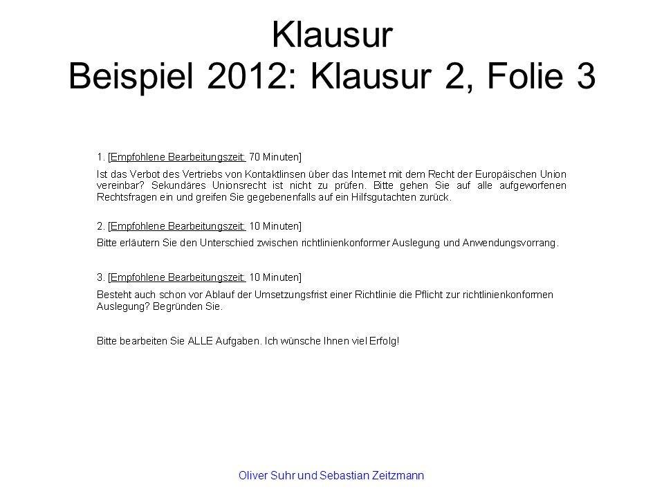 Klausur Beispiel 2012: Klausur 2, Folie 3 Oliver Suhr und Sebastian Zeitzmann