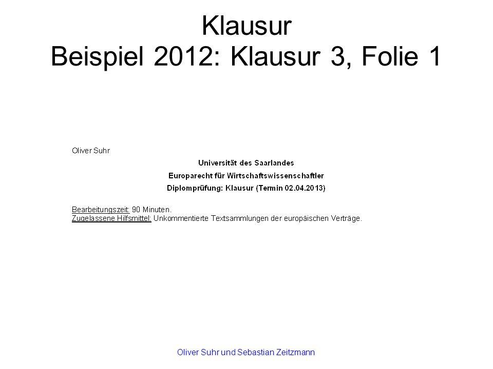 Klausur Beispiel 2012: Klausur 3, Folie 1 Oliver Suhr und Sebastian Zeitzmann