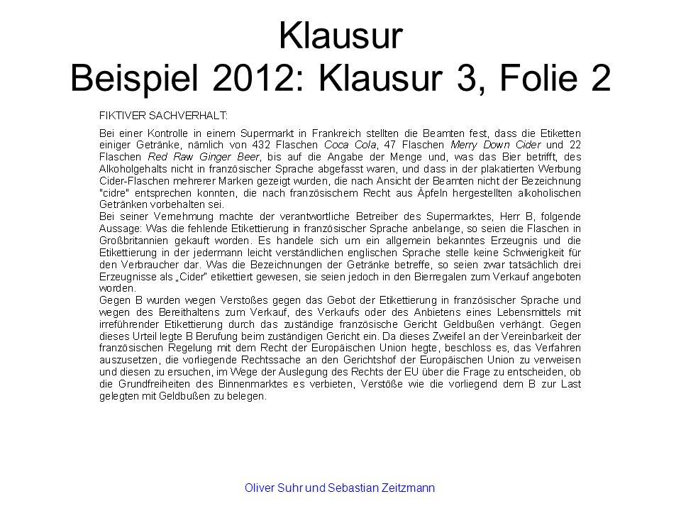 Klausur Beispiel 2012: Klausur 3, Folie 2 Oliver Suhr und Sebastian Zeitzmann