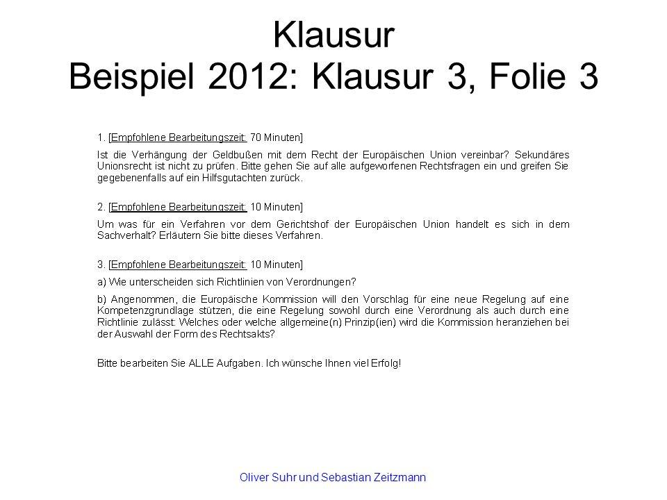 Klausur Beispiel 2012: Klausur 3, Folie 3 Oliver Suhr und Sebastian Zeitzmann