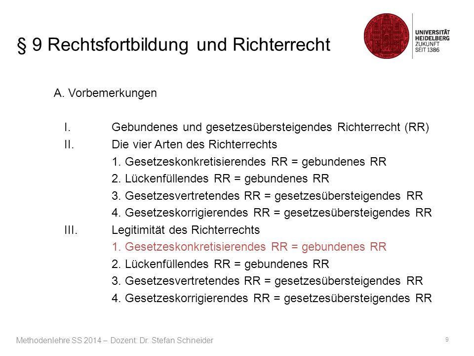 § 9 Rechtsfortbildung und Richterrecht B.Rechtsfortbildung – Gesetzesgebundenes Richterrecht II.