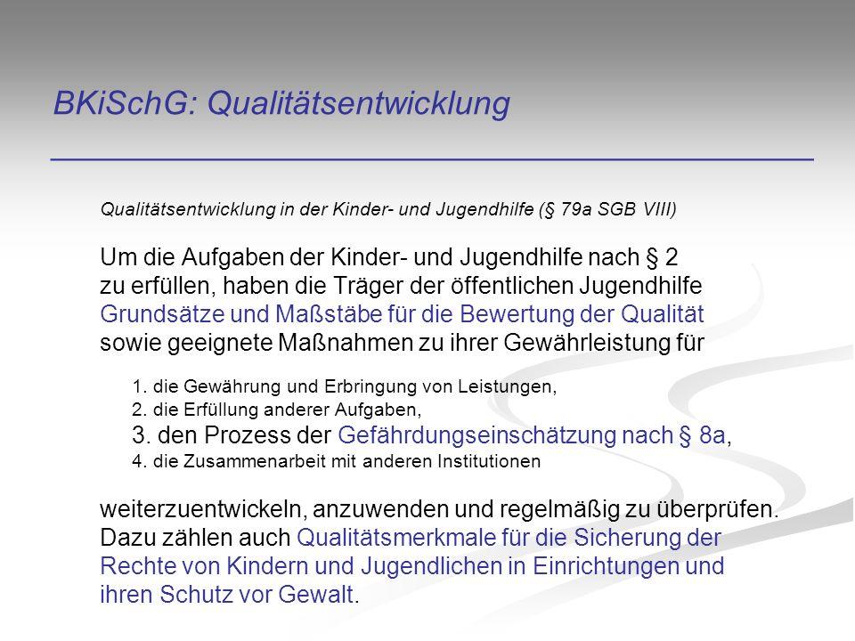 BKiSchG: Qualitätsentwicklung _________________________________________ Qualitätsentwicklung in der Kinder- und Jugendhilfe (§ 79a SGB VIII) Um die Aufgaben der Kinder- und Jugendhilfe nach § 2 zu erfüllen, haben die Träger der öffentlichen Jugendhilfe Grundsätze und Maßstäbe für die Bewertung der Qualität sowie geeignete Maßnahmen zu ihrer Gewährleistung für 1.