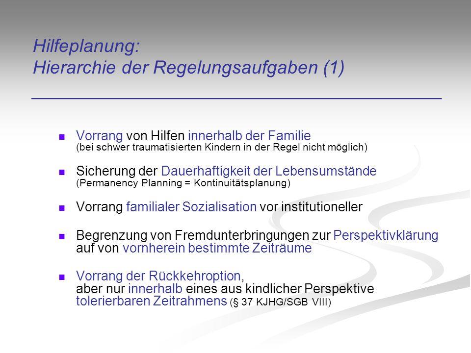 Hilfeplanung: Hierarchie der Regelungsaufgaben (1) ________________________________________ Vorrang von Hilfen innerhalb der Familie (bei schwer traumatisierten Kindern in der Regel nicht möglich) Sicherung der Dauerhaftigkeit der Lebensumstände (Permanency Planning = Kontinuitätsplanung) Vorrang familialer Sozialisation vor institutioneller Begrenzung von Fremdunterbringungen zur Perspektivklärung auf von vornherein bestimmte Zeiträume Vorrang der Rückkehroption, aber nur innerhalb eines aus kindlicher Perspektive tolerierbaren Zeitrahmens (§ 37 KJHG/SGB VIII)