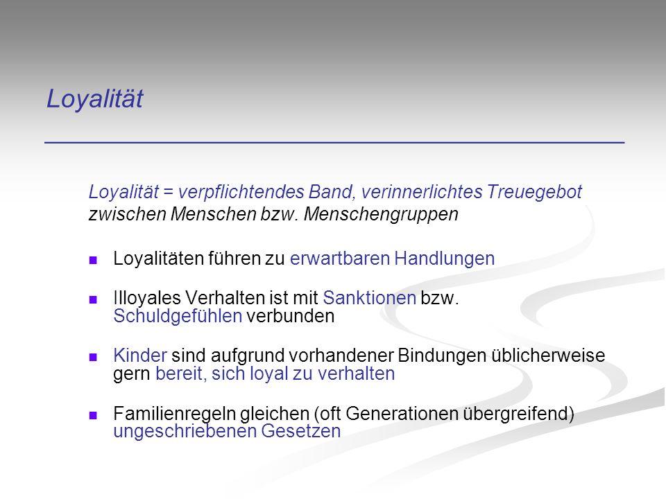Loyalität ________________________________________ Loyalität = verpflichtendes Band, verinnerlichtes Treuegebot zwischen Menschen bzw.
