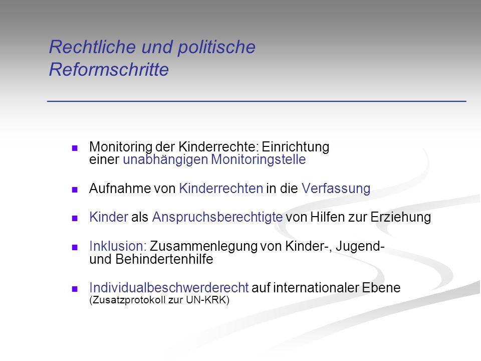 Rechtliche und politische Reformschritte ________________________________________ Monitoring der Kinderrechte: Einrichtung einer unabhängigen Monitoringstelle Aufnahme von Kinderrechten in die Verfassung Kinder als Anspruchsberechtigte von Hilfen zur Erziehung Inklusion: Zusammenlegung von Kinder-, Jugend- und Behindertenhilfe Individualbeschwerderecht auf internationaler Ebene (Zusatzprotokoll zur UN-KRK)