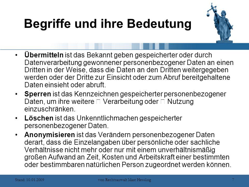 Stand: 10.01.2009von Rechtsanwalt Marc Hessling38 Die Aufgaben des Datenschutzbeauftragten Die Aufgaben des Datenschutzbeauftragten sind vielfältig.