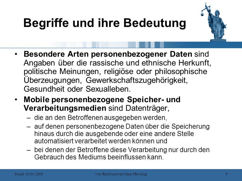 Stand: 10.01.2009von Rechtsanwalt Marc Hessling10 Datenschutz – warum.