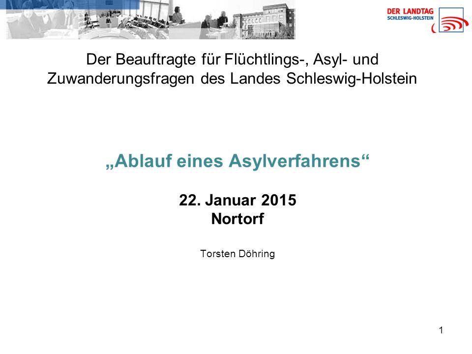 """1 Der Beauftragte für Flüchtlings-, Asyl- und Zuwanderungsfragen des Landes Schleswig-Holstein """"Ablauf eines Asylverfahrens 22."""
