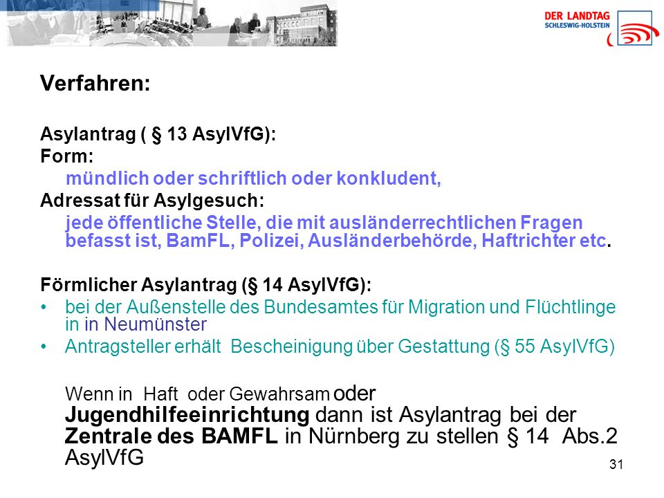 31 Verfahren: Asylantrag ( § 13 AsylVfG): Form: mündlich oder schriftlich oder konkludent, Adressat für Asylgesuch: jede öffentliche Stelle, die mit ausländerrechtlichen Fragen befasst ist, BamFL, Polizei, Ausländerbehörde, Haftrichter etc.