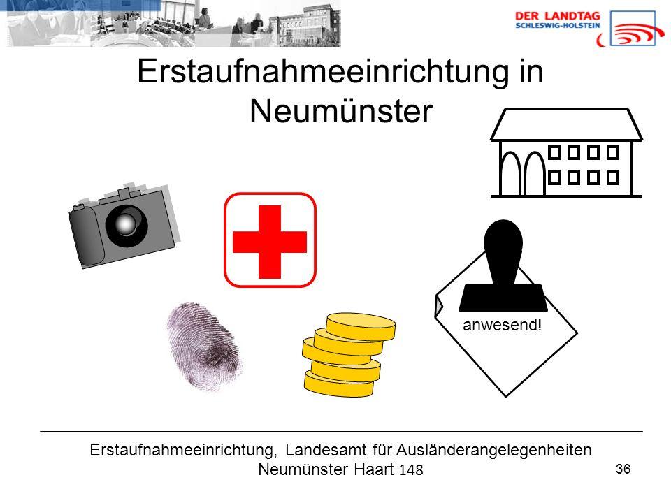 36 Erstaufnahmeeinrichtung, Landesamt für Ausländerangelegenheiten Neumünster Haart 148 Erstaufnahmeeinrichtung in Neumünster anwesend!