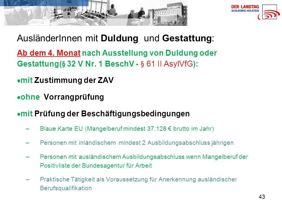 43 AusländerInnen mit Duldung und Gestattung: Ab dem 4.