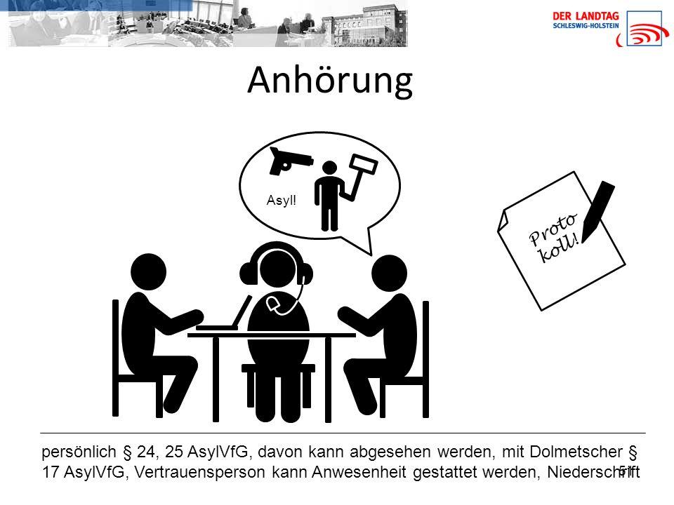 51 Anhörung persönlich § 24, 25 AsylVfG, davon kann abgesehen werden, mit Dolmetscher § 17 AsylVfG, Vertrauensperson kann Anwesenheit gestattet werden, Niederschrift Proto koll.