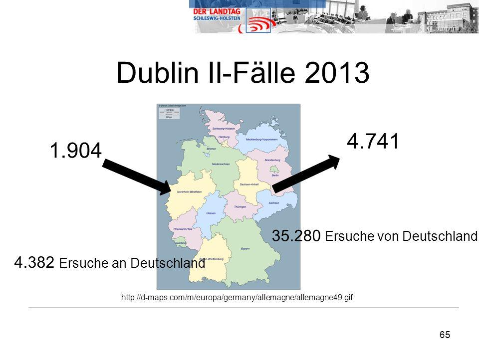 65 1.904 Dublin II-Fälle 2013 http://d-maps.com/m/europa/germany/allemagne/allemagne49.gif 4.741 35.280 Ersuche von Deutschland 4.382 Ersuche an Deutschland
