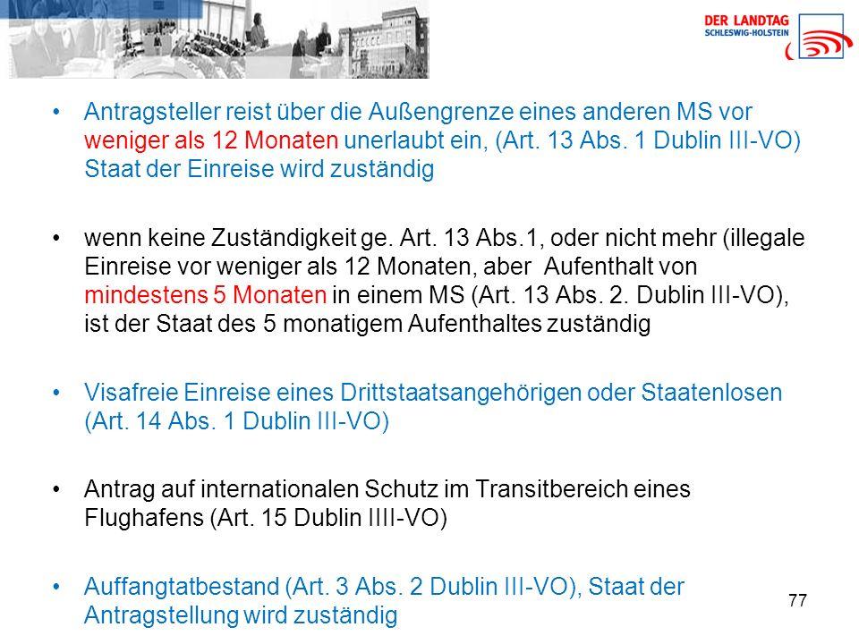 77 Antragsteller reist über die Außengrenze eines anderen MS vor weniger als 12 Monaten unerlaubt ein, (Art.