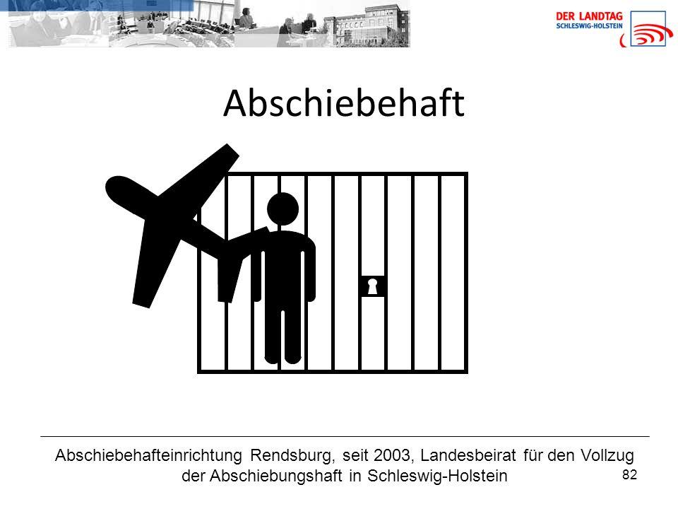 82 Abschiebehaft Abschiebehafteinrichtung Rendsburg, seit 2003, Landesbeirat für den Vollzug der Abschiebungshaft in Schleswig-Holstein